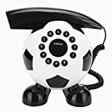 Gracioso Teléfono con forma de fútbol Cortado Teléfono fijo para el hogar, De moda Teléfono de escritorio de fútbol Lindo teléfono único con botón transparente grande para el hogar / hotel / oficina