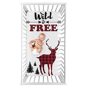 Sweet Jojo Designs Woodland Buffalo Plaid Boy Fitted Crib Sheet Baby or Toddler Bed Nursery Photo Op – Red and Black Rustic Country Deer Lumberjack Arrow