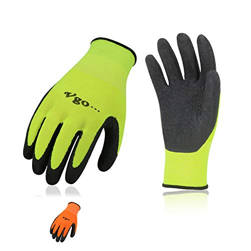 Vgo 6-Pairs Latex Rubber Coated Gardening and Work Gloves (Size L, High-Vis Green & Orange, RB6023)