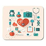 Alfombrillas de ratón Hospital Colorido Salud Plano Moderno de médico Enfermera...