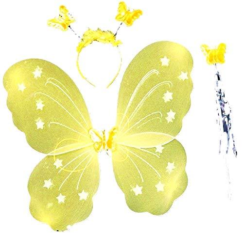 Set Ali hoofdband en magische rackets kleur geel accessoire voor meisjes maat 3-7 jaar