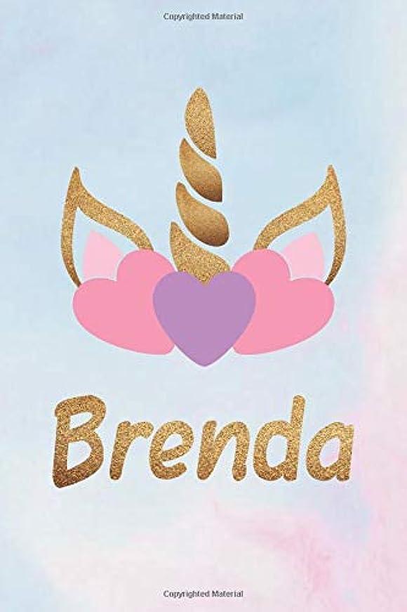 うがいにつかの間Brenda: Personalized First Name Unicorn Gift Birthday Girl Notebook Journal 104 Pages
