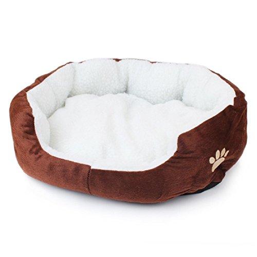 Hou Zhi Liang, cuccia rotonda per cani e gatti, in finta pelliccia, morbida, calda e lavabile, di alta qualità, colore: caffè (50 cm x 40 cm x 14 cm)