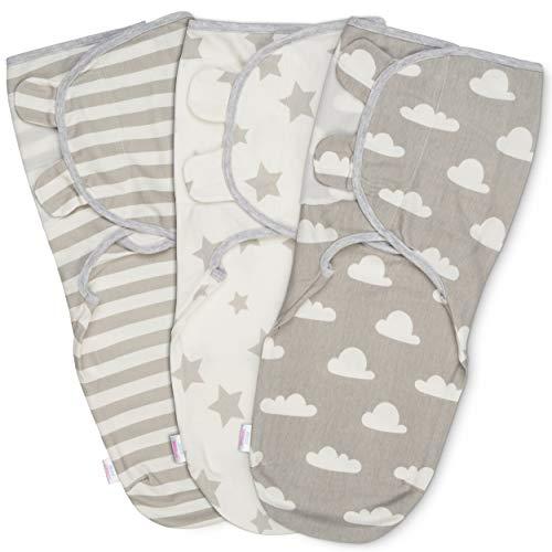 Manta Envolvente para Bebé y Recien Nacido – 3x Saco de Dormir Manta de Arrullo Cobija 100% Algodón 220GSM - Gris 4-6 Meses