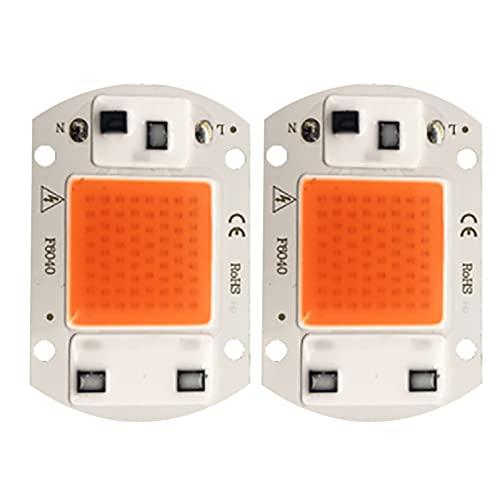 MCLJR 2 PCS Grow Light Chip Solderless AC Driverless Led Chip Full Spectrum Plantas Crecimiento Luces Diodo Emisor De Mazorca con Aletas Térmicas para Flores...
