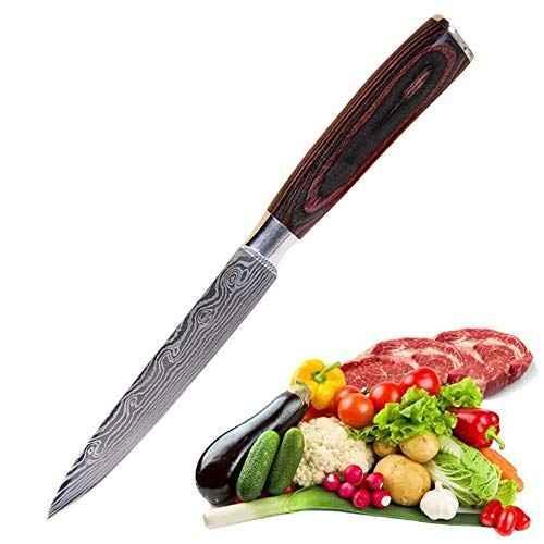 Utility Knife 5 inch Professional Kitchen Petty Knife-Japanese High Carbon Stainless Steel-Razor Sharp Chef Knife with Unique Ergonomic Handle