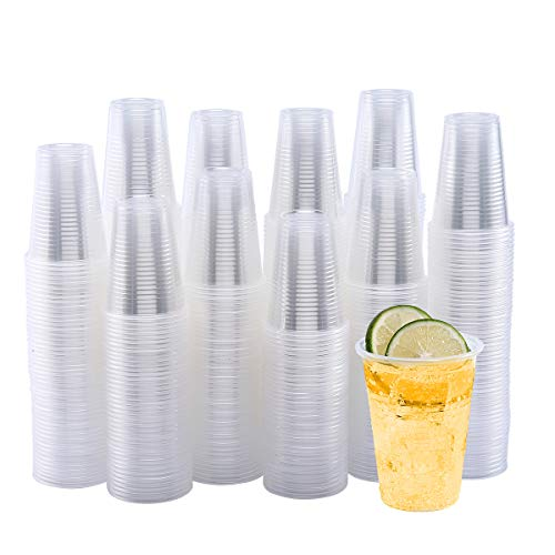 500 Pack 9 OZ Clear Plastic CupsCold Party Drinking CupsTransparent Plastic Cups Bulk Disposable Cups for WeddingThanksgiving Christmas Party