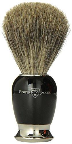 Edwin Jagger 81sb586 - rasatura dei capelli pennello di tasso (imitazione ebano, collo e acciaio nichelato fine)
