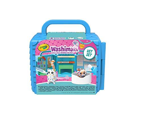 CRAYOLA Washimals Pets Vet Playset, colorea y CREA Juego Que se pliega en una Funda de Transporte, Incluye bolígrafos Lavables y Figuras de Perro y Gato, Multicolor (74726)