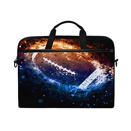 """QMIN - Funda para ordenador portátil Galaxy Space Football Sport con cremallera y correa para el hombro para Dell HP Lenovo MacBook de 14,5-14,5"""""""