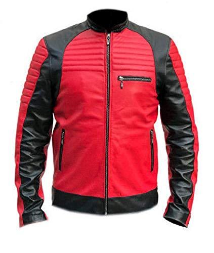 e Genius Vintage Café Racer - Chaqueta de Piel Acolchada para Motociclista, Color Rojo y Negro