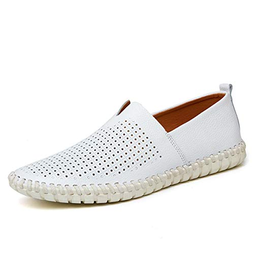 Fashion Men s Loafers 2019 Genuine Leather Handmade Soft Breathable Men Moccasins Flats Plus Size 38~50 Slip On Driving Shoes White Mesh 10