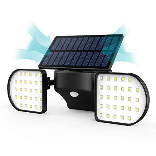 JBHOO Solarlampen für Außen mit Bewegungsmelder 56 LED Solarleuchte Aussen mit Bewegungssensor Dual Kopf Strahler IP65 Wasserdicht 360°Einstellbare Solar Wandleuchte für Haustür Garten Patio