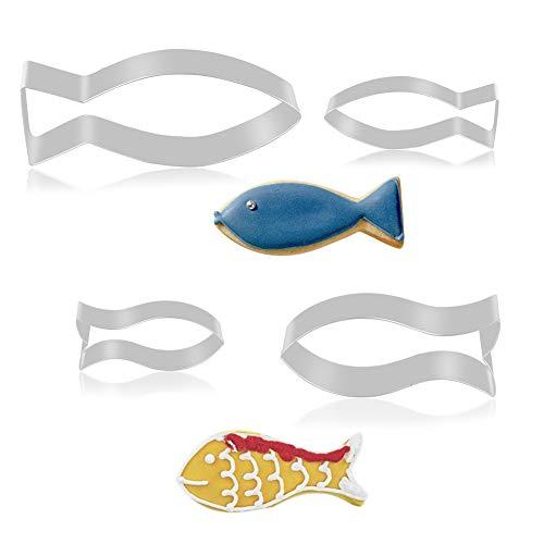 FHzytg 4 Stück Fisch Ausstechform, Edelstahl Ausstecher Set für Kommunion Konfirmation Taufe, Fische Keksausstecher für Kinder(Fish)