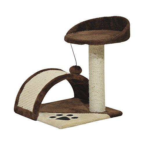 PawHut Cat Tree Scratching Scratcher Post Kitten Activity Centre Climber Hanging Ball Brown