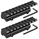 LONSEL Dovetail to Picatinny Rail Adapter, 11mm Dovetail to 21mm Picatinny/Weaver Rail Convert Mount - Low Profile Scope Riser Rail Adaptor - Base Mount 3/8' to 7/8' Converter - 2 Pack