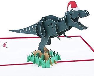 BC Worldwide Ltd Tarjeta de Navidad emergente 3D hecha a mano, dinosaurio Santa Claus Feliz Navidad regalo