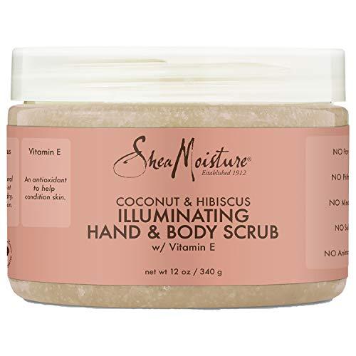 Sheamoisture Illuminating Hand and Body Scrub for Dull Skin Coconut and Hibiscus Cruelty-Free Skin Care 12 oz