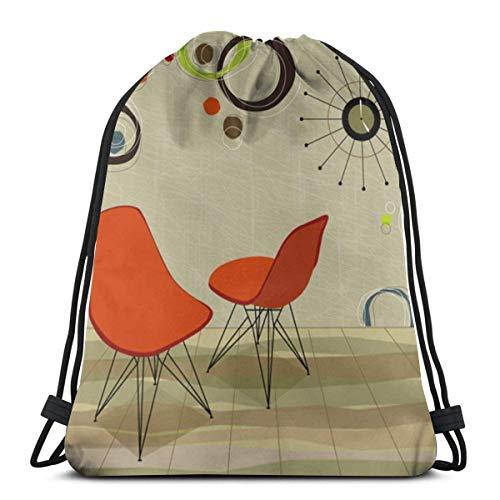 pequeño y compacto Mochila con cordón Mochila 50S Stylin Retro Orange Chair Cool File Layer Watch …