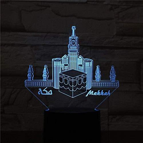 YOUPING Luz fantasma 3D de la mezquita de la meca 3D Phantom 7 colores llevó la luz de la noche para los niños al tacto llevó USB bebé dormir luz de noche