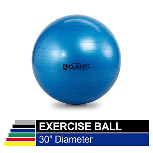 "TheraBand Exercise Ball, Professional Series Stability Ball with 75 cm Diameter for Athletes 6'2"" to 6'8"" Tall, Slow Deflate Fitness Ball for Improved Posture, Balance, Yoga, Pilates, Core, Blue"