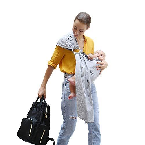 Uamita Fascia Porta Bebè in Lino all'80% ed al 20% i in Cotone Organico. Tessuto Resistente, Fresco e Traspirante. Pratico e Sicuro per la Mamma, Fresco e Confortevole per il Bimbo (Grigio)