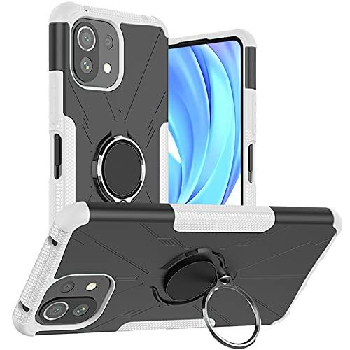DWaybox Custodia per Xiaomi Mi 11 Lite 5G 6,55 pollici 2021, compatibile con supporto magnetico per auto, cavalletto ad anello rotante a 360 °, copertura resistente 2in1 per Xiaomi Mi 11 Lite -Bianco