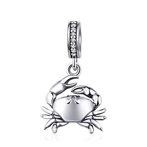 EvesCity - Abalorio de plata de ley 925 con diseño de cangrejo y cristal de océano para pulseras y collares
