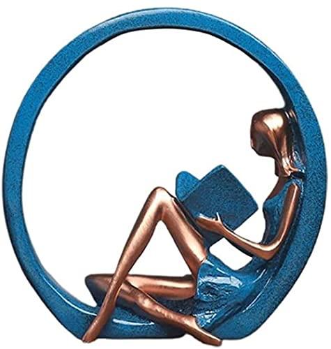 Ornamento de la Resina de la estatuilla de Yoga esculturas de la niña Yoga Pose para la decoración de la Oficina del gabinete doméstico-Leer el Libro