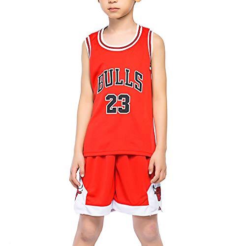 Boys' Athletic T-Shirt Kids Sports Jersry Girls Basketball Tank Top Mesh Shorts Set Red S