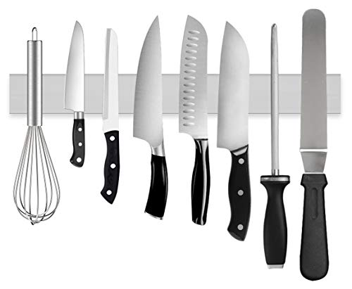 Magnetic Knife Holder for Wall, Ouddy 16 Inch Knife Magnetic Strip, Stainless Steel Magnetic Knife Strip Bar Rack Block for Kitchen Utensil Holder, Art Supply Organizer & Tool Holder