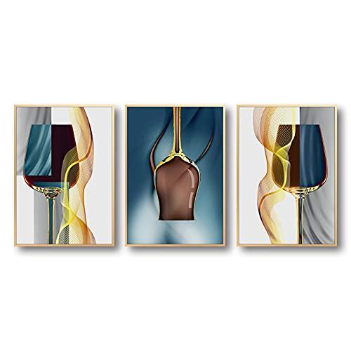 Impresión en lienzo copa de vino arte lienzo pinturas murales sala estética decoración de la cocina cartel e impresiones de pared dorados abstractos 40x60cmx3 sin marco
