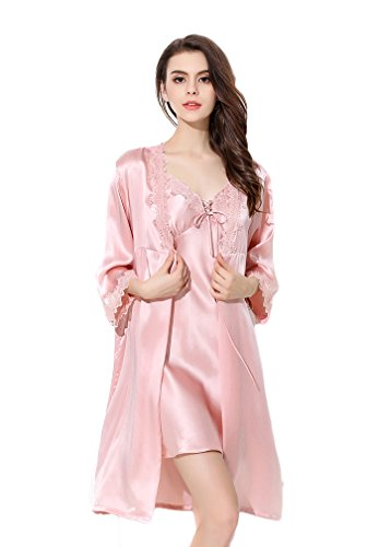 Women's Luxury Silk Robe Pajamas Sets Autumn and Winter Gifts Pink S