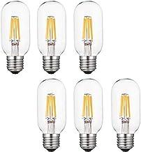 KLED 6-Pack LED Vintage Tubular Bulb, Dimmable, T45 2W (20W Equivalent), LED Filament Bulb, 150 Lumen, 2700K (Warm White),...