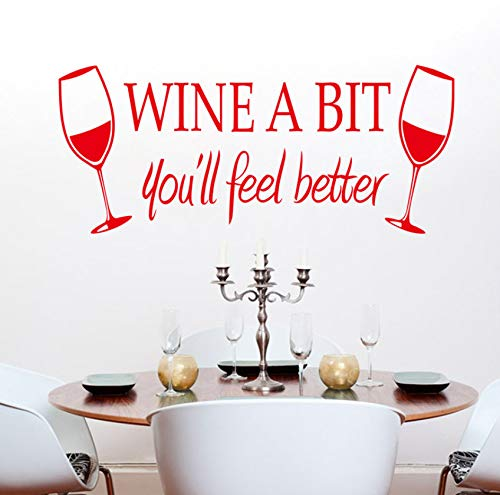 Dalxsh Rode Wijnglas Muursticker Gegraveerd Gegraveerde Stickers Keuken Bar Home Decor 55X24Cm