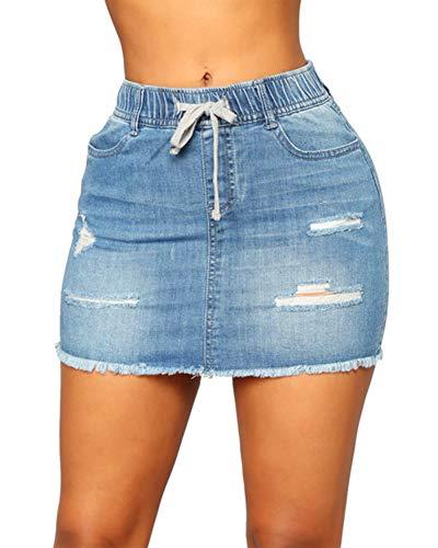 She Charm Frauen Mit Hohen Taille Und Jean-Rock Slim Fit Jeans-Minirock,Blau,XL