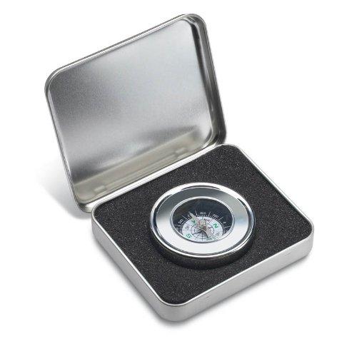 Boussole ronde métallique dans son coffret