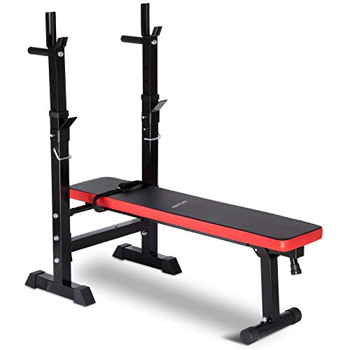 Adjustable Weight Bench with Rack Foldable Workout Exercise Fitness...