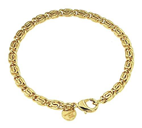 S-Panzerarmband 18kt Gold Doublé 5 mm Länge 22 cm, Armband Herren-Armband Goldarmband Damen Geschenk Schmuck ab Fabrik Italien tendenze SPGYs5-22