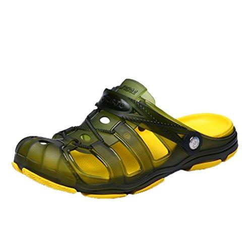SHL Beach Clog Sandals,Men Summer Comfort Hollow Out Walking Water Slippers Slip-On Flats Shoes   (Green, US:9)
