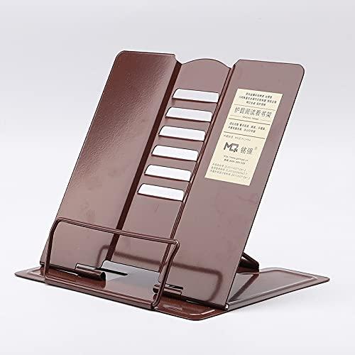 yonghe Soporte portátil de metal resistente ajustable para libros, protección de los ojos, marco de lectura, soporte plegable para libros de cocina, soporte para tablet y PC (color marrón oscuro)