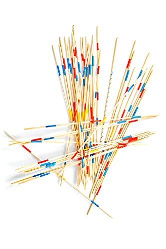 Juguete de madera Mikado XL – Palillos de madera de 38 cm de largo (41 unidades) – Juego tradicional con color rojo y azul + 1 bastoncillos de Mikado