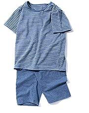 Dizoon 子供 パジャマ 男の子 女の子 半袖 夏 ルームウェア キッズ 上下セット 綿 子供服 ストライプ ジュニア 男女兼用 tシャツ ズボン 柔らかい 可愛い 部屋着 寝巻き 100 110 120 130 140 150 160 170