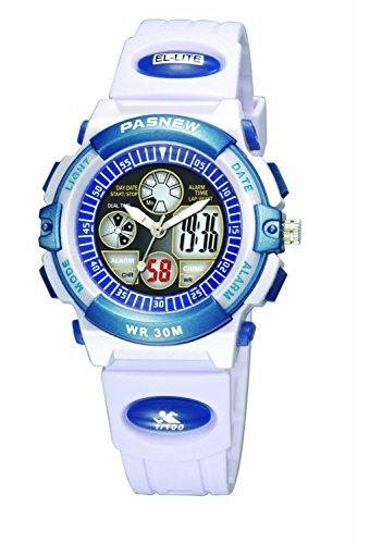 PASNEW Boys Girls Waterproof Sport Digital Watch Dual Time Display- White