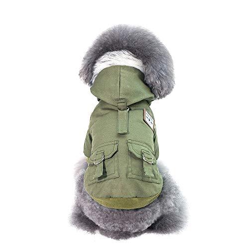 QYYdog Kleidung Pet Herbst und Winter Modelle Militär dick gepolsterte warmen Mantel-Hunde-Bekleidung Pyjamas, Farbe: Grün, Größe: S