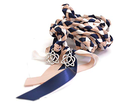 Divinity Braid Navy Blush Silver Celtic Heart Knot Wedding Handfasting Cord #Handfasting #Celtic #CelticHandfasting #Wedding #WeddingHandfasting