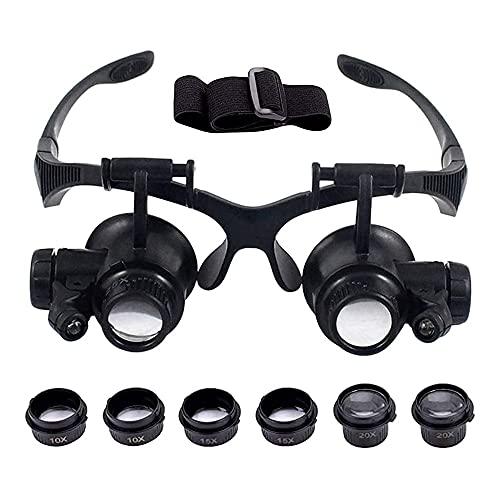 MMOBIEL Gafas con Lupa de Aumento para reparación de Relojes y para joyeros con 4 Lentes, luz LED para reparación de Relojes, joyería, teléfono Inteligente 10/15/20/25X Zoom Incl. Manual y Correa