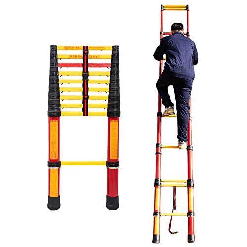 DFJU 6 m / 5 m / 4,5 m / 4m / 3.5m / 3m extensión no conductiva de Escalera,Plegables Profesionales de Fibra de Vidrio telescópicos escaleras,Electricidad Mantenimiento (Tamaño: 2m / 6.6ft)