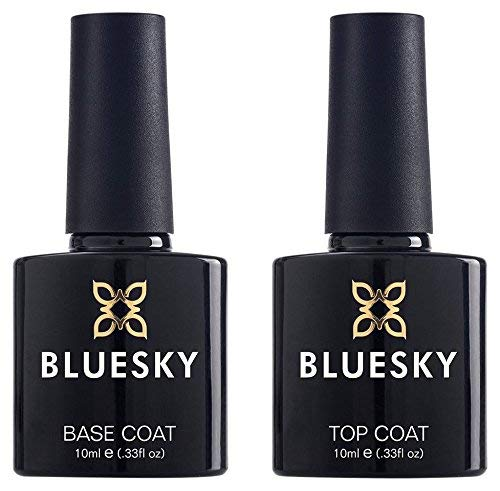 Bluesky UV/LED Gel Nail Polish Top and Base Coat for Gel Nails, 10 ml (Requires Drying Under UV or LED Lamp)