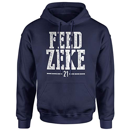Wishful Inking Dallas Football Fans Feed Zeke Vintage Distressed Style Classic Hoodie (3X, Navy Blue)
